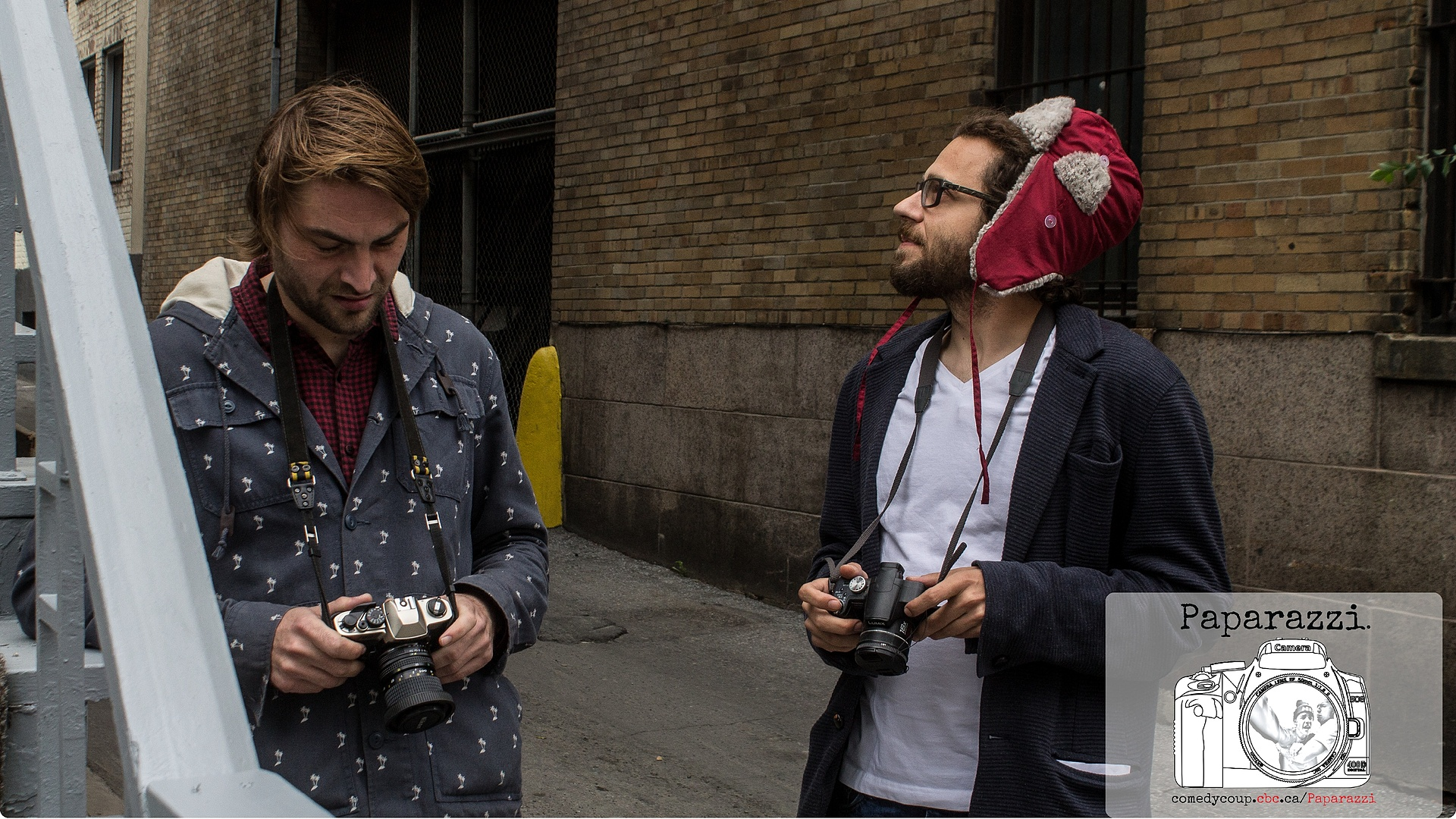 Morgan and Jason on set