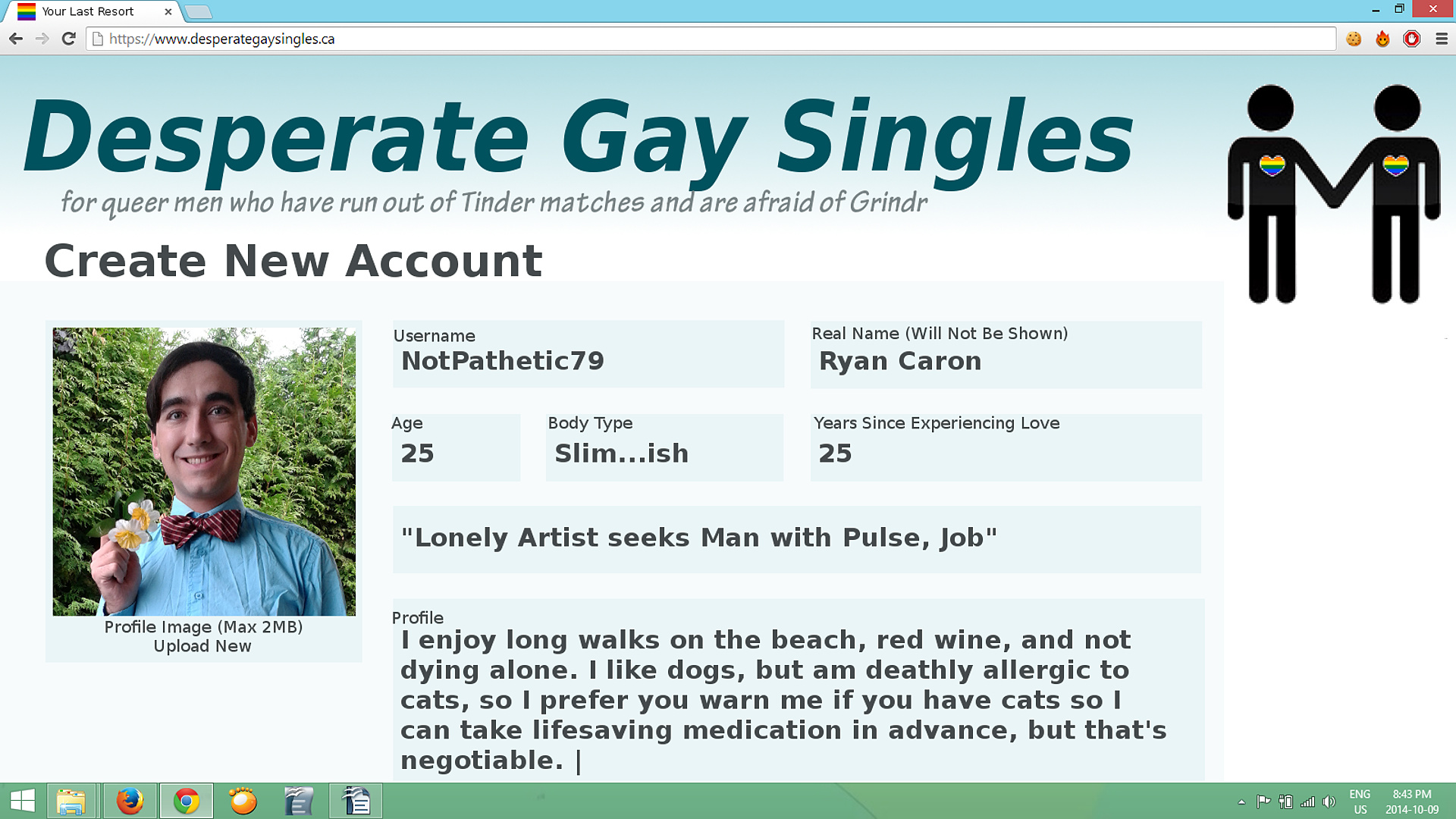 Screen Shot of Dating Site