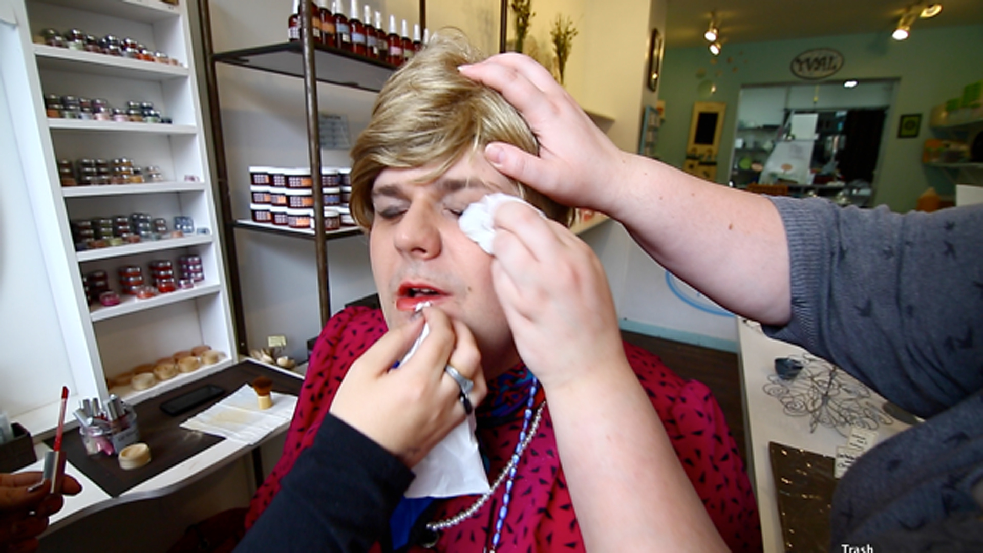 Nanny Walbourne Getting her Make-up done