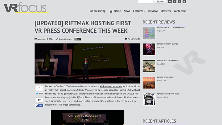 First 4D Press Conference with RiftMax